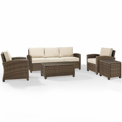5-Piece Conversation Set- Sand Cushions - Sofa, Two Arm Chairs, Side Table & Glass Top Table Perspective: front