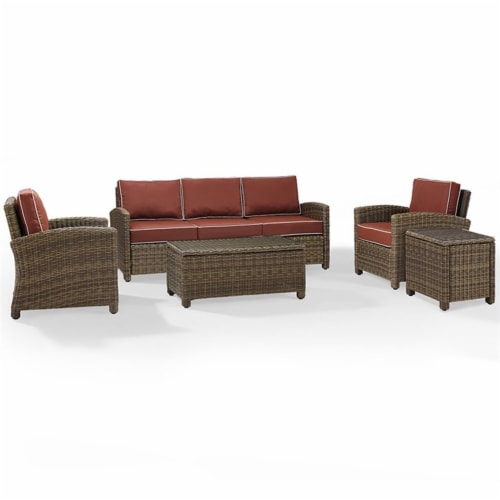 5-Piece Conversation Set-Sangria Cushions -Sofa, Two Arm Chairs, Side Table & Glass Top Table Perspective: front