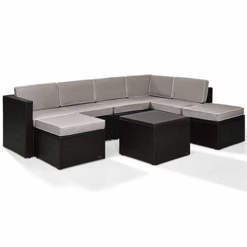 Palm Harbor 8 Piece Outdoor Wicker Seating Set- Gray Cushions Perspective: front