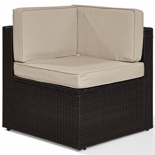 Palm Harbor Wicker Patio Corner Chair with Sand Cushions - Crosley Perspective: front