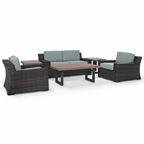 Beaufort 6 Pc Outdoor Set With Mist Cushion - Loveseat, 2 Chairs, 2 Side Tables, Coffee Table Perspective: front