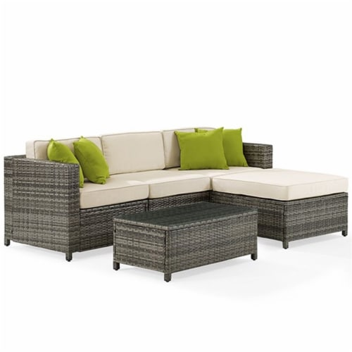 Sea Island Resin 5 Piece Right Facing Patio Sectional Set in Gray-Crosley Perspective: front