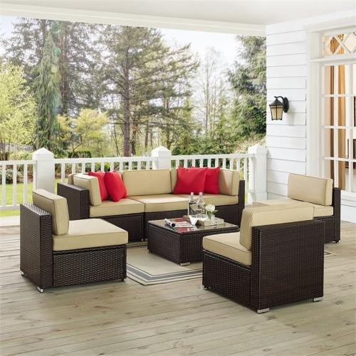 Sea Island Resin 7 Piece Patio Sofa Set in Brown-Crosley Perspective: front