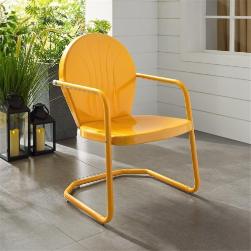 Furniture Griffith Sturdy Steel Metal Patio Chair in Orange-Crosley Perspective: front