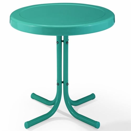 Furniture Retro Sturdy Steel Metal Patio End Table in Surf Green-Crosley Perspective: front