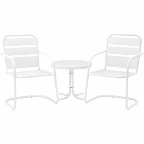 Crosley Brighton 3 Piece 22  Round Metal Patio Conversation Set in White Perspective: front