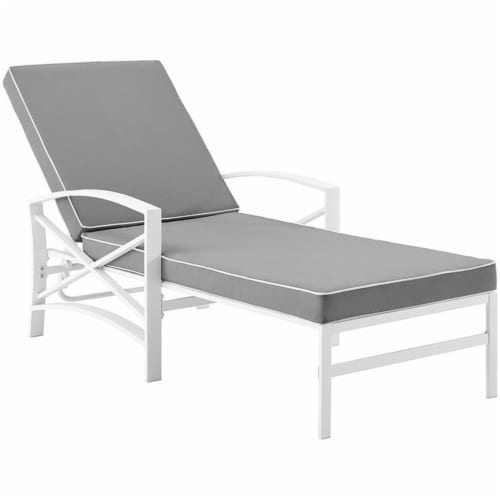 Crosley Kaplan Metal Patio Chaise Lounge in Gray and White Perspective: front
