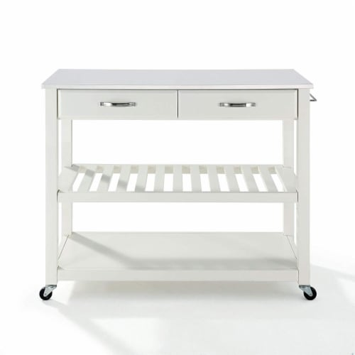 Full Size Granite Top Kitchen Prep Cart Perspective: front