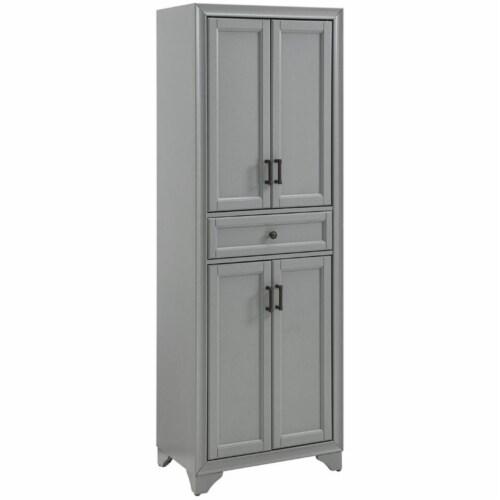 Crosley Tara 4 Door Pantry in Distressed Gray Perspective: front