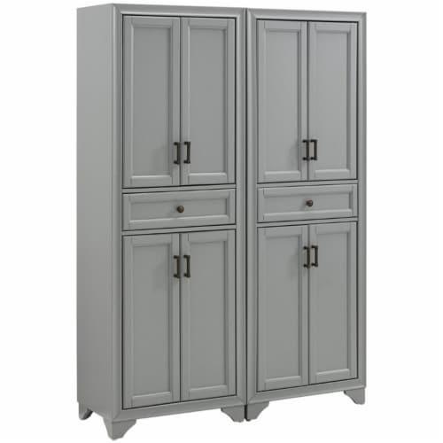 Crosley Tara 4 Door Pantry Set in Distressed Gray (Set of 2) Perspective: front