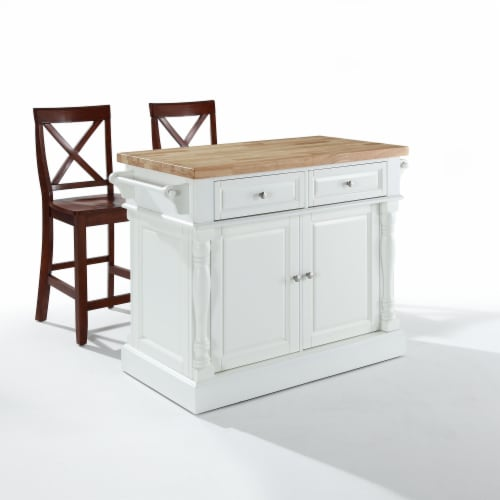 """Oxford Butcher Block Top Kitchen Island In White Finish With 24"""" Black X-Back  Stools Perspective: front"""