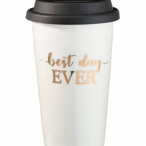 Lillian Rose CM105 BD Best Day Ever Ceramic Travel Mug - Cream Perspective: front