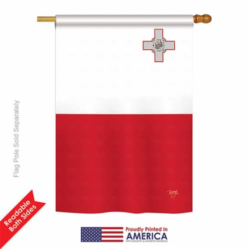Breeze Decor 08374 Malta 2-Sided Vertical Impression House Flag - 28 x 40 in. Perspective: front