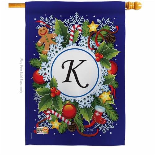 Breeze Decor 30089 Winter K Monogram 2-Sided Vertical Impression House Flag - 28 x 40 in. Perspective: front