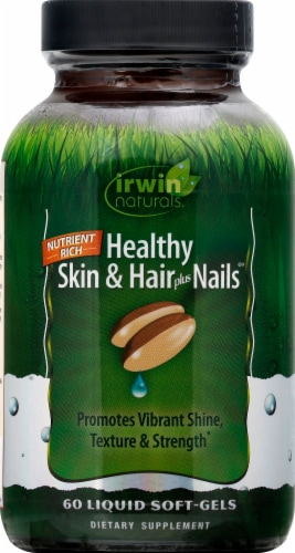 Irwin Naturals Skin & Hair + Nails Supplement Liquid Soft-Gels 60 Count Perspective: front