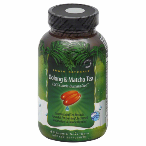 Irwin Naturals Oolong & Matcha Tea Calorie Burning Supplement Perspective: front