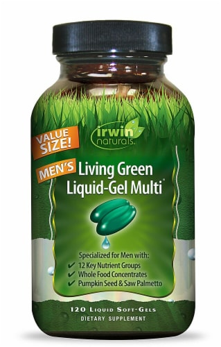 Irwin Naturals  Living Green Liquid-Gel Multi™ For Men Economy Size Perspective: front