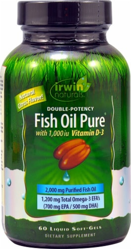 Irwin Naturals  Double Potency Fish Oil Pure™   Natural Citrus Perspective: front