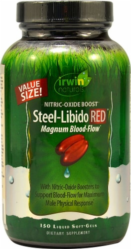 Irwin Naturals Steel-Libido Red Magnum Blood-Flow Nitric-Oxide Boost Perspective: front
