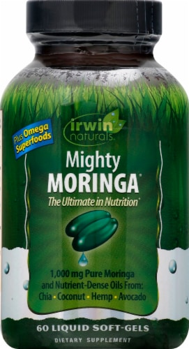 Irwin Naturals Mighty Moringa Liqid Soft-Gels 1000mg 60 Count Perspective: front