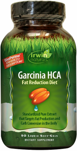 Irwin Naturals Garcinia HCA Fat Reduction Diet Liquid Softgels Perspective: front