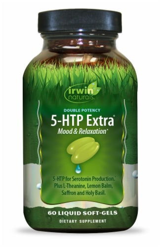 Irwin Naturals Double Potency Mood & Relaxation 5-HTP Extra Liquid Soft-Gels 60 Count Perspective: front