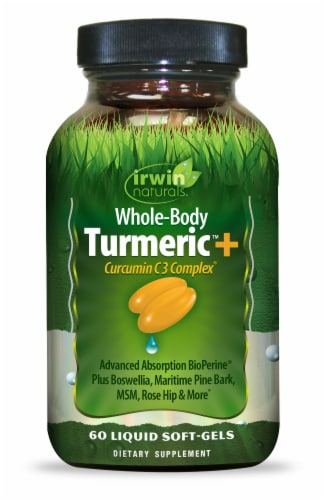 Irwin Naturals Whole-Body Turmeric + Liquid Soft-Gels Perspective: front