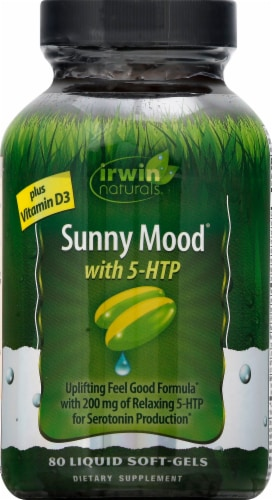 Irwin Naturals Sunny Mood 5-HTP Dietary Supplement Liquid Soft-Gels Perspective: front