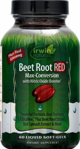 Irwin Naturals Beet Root RED Liquid Soft-Gels Perspective: front