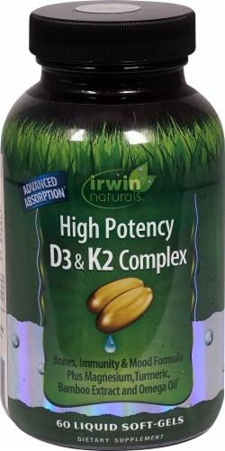 Irwin Naturals High Potency D3 & K2 Complex Softgels Perspective: front