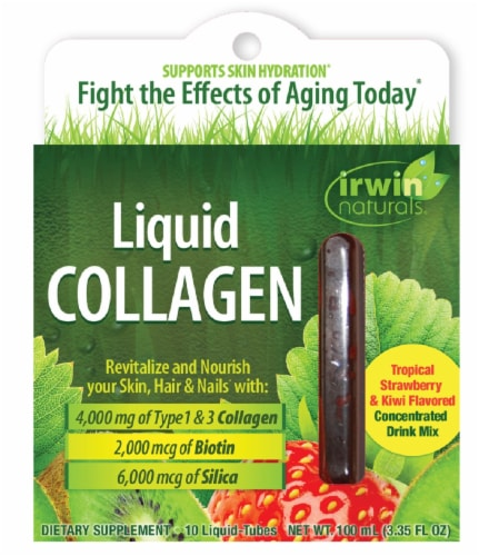 Irwin Naturals Liquid Collagen Tubes 10 Count Perspective: front