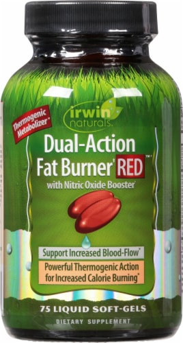 Irwin Naturals Green Tea Fat Burner Red with Nitric Oxide Booster Dietary Supplement Perspective: front
