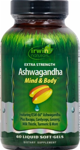 Irwin Naturals Extra Strength Ashwagandga Mind & Body Dietary Supplement Liquid Soft-Gels Perspective: front