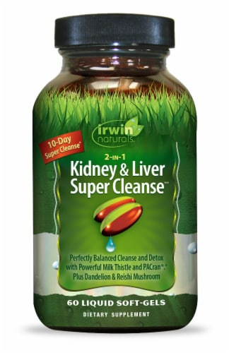 Irwin Naturals 2-IN-1 Kidney & Liver Super Cleanse Liquid Softgels Perspective: front