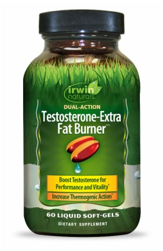 Irwin Naturals Dual Action Testosterone-Extra Fat Burner Dietary Supplement Liquid Soft Gels Perspective: front