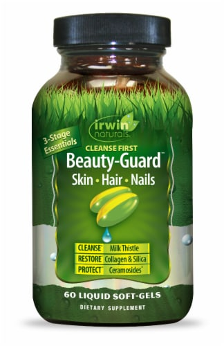 Irwin Naturals Cleanse First Beauty-Guard Skin Hair Nails Liquid Soft-Gels Perspective: front