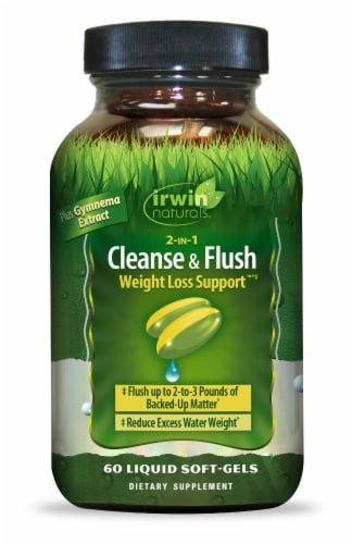 Irwin Naturals 2-IN-1 Cleanse & Flush Weight Loss Support Liquid Soft-Gels Perspective: front