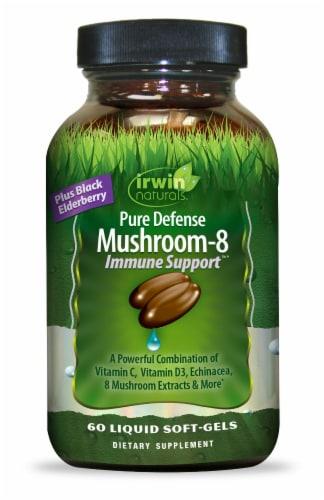 Irwin Naturals Pure Defense Mushroom-8 Immune Support Liquid Soft-Gels Perspective: front
