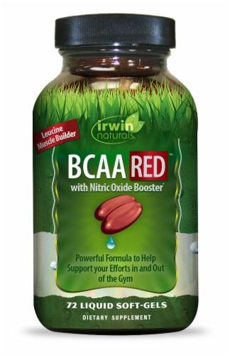 Irwin Naturals BCAA RED Liquid Soft-Gels Perspective: front