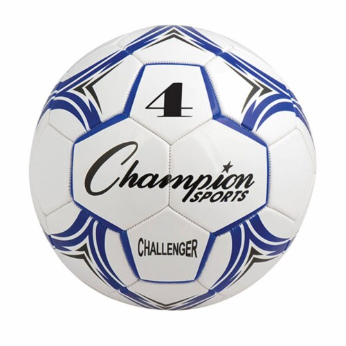 Champion Sports CH4BL Challenger Series Soccer Ball, Royal & White - Size 4 Perspective: front