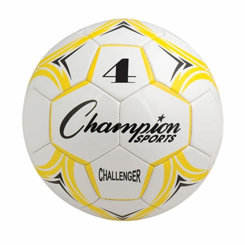 Champion Sports CH4YL Challenger Series Soccer Ball, Yellow & White - Size 4 Perspective: front
