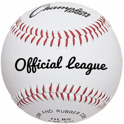 Champion Sports OLBS 3 in. Syntex Leather Official League Baseball, White & Red - Pack of 12 Perspective: front