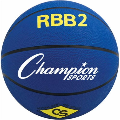 Champion Sports RBB2BL 27.5 in. Pro Rubber Basketball, Royal Blue Perspective: front
