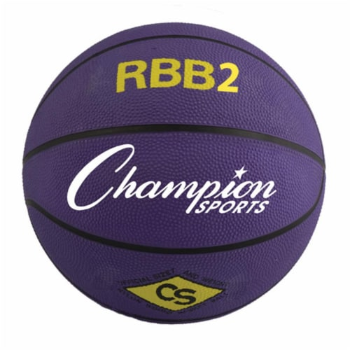 Champion Sports RBB2PR 27.5 in. Pro Rubber Basketball, Purple Perspective: front