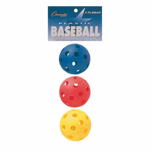 Champion Sports PLBBAR 9 in. Plastic Baseball, Red, Royal Blue & Yellow - Set of 3 Perspective: front
