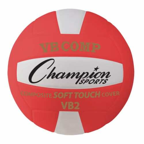 Champion Sports VB2RD 8.25 in. VB Pro Comp Series Volleyball, Red & White Perspective: front