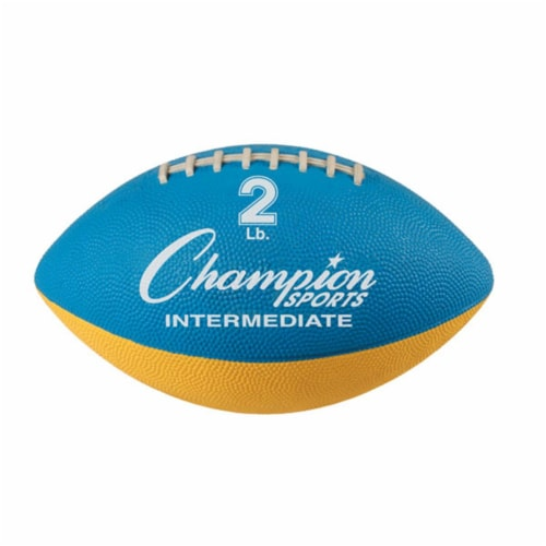 Champion Sports WF22 2 lbs Intermediate Size Football Trainer, Blue & Yellow Perspective: front