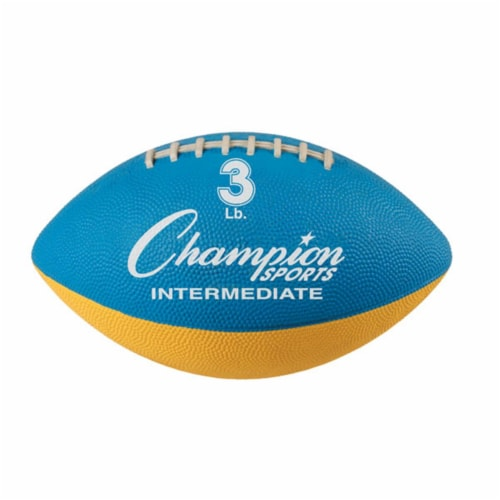 Champion Sports WF32 3 lbs Intermediate Size Football Trainer, Blue & Yellow Perspective: front
