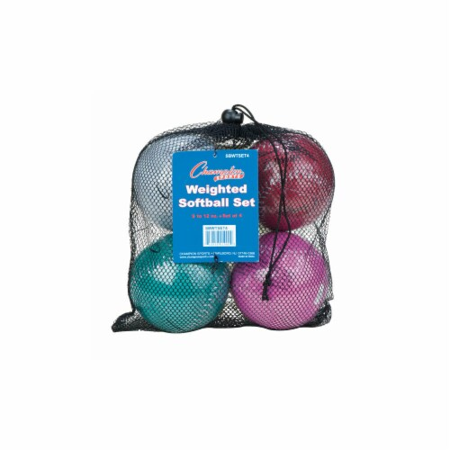 Champion Sports SBWTSET4 12 in. Weighted Training Softball Set, Multi color - Set of 4 Perspective: front