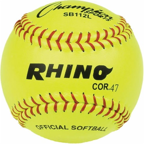 Champion Sports SB112L 12 in. Leather Cover Cork Softball, Optic Yellow & Red Perspective: front